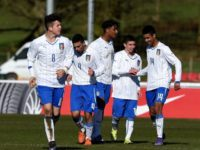 BURTON-UPON-TRENT, ENGLAND - FEBRUARY 18:  Luca Scarlino of Italy is congratulated after scoring the opening goal during the Norway v Italy U16s International Friendly at St Georges Park on February 18, 2016 in Burton-upon-Trent, England.  (Photo by Ross Kinnaird/Getty Images)