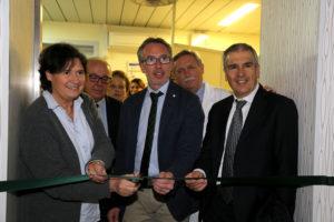 Il taglio del nastro con l'assessore regionale Saccardi, Stefano Scaramelli e il sindaco Valentini