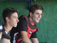 Baseball Andrea Lucattelli, a destra, con la pettorina da ricevitore