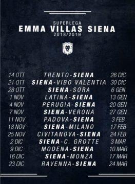 grafica del calendario della Emma Villas Siena