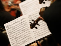 violinists during a classical concert music, focus on sheet music