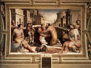 Domenico Beccafumi, Riconciliazione di Emilius Lepido con Flavio Flacco, Episodi delle virtù civiche, affresco (1529-1535)